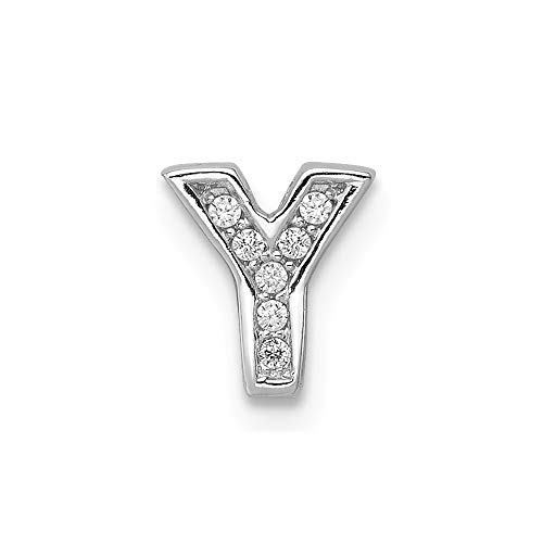 925 Sterling Silver Cubic Zirconia Cz Letter Y Slide Pendant Charm Necklace Chain Initial Fine Jewelry Gifts For Women For Her ()