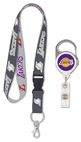 Wincraft Bundle 2 Items: NBA Los Angles LA Lakers 1 Premium Lanyard, Charcoal Edition and 1 Badge Reel Id Holder