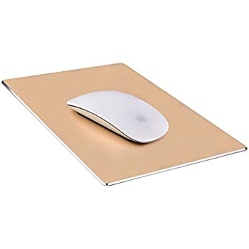 Mouse Pad,Qcute Gaming Aluminum Mouse Pad 9.45 X 7.87 Inch W Non-Slip Rubber Base & Micro Sand Blasting Aluminum Surface for Fast and Accurate Control (Large, Gold)