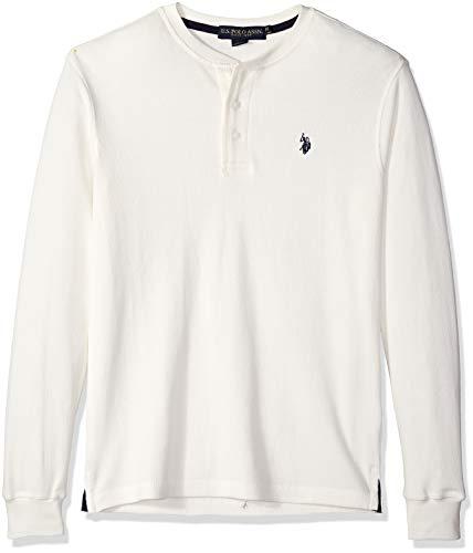 (U.S. Polo Assn. Men's Long Sleeve Thermal Henley, White Winter, L)