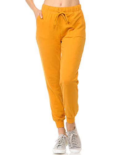 (ClothingAve. Womens French Terry Jogger, Sweatpant (Pants Only) - Pants Only - Canary Mustard/Medium)
