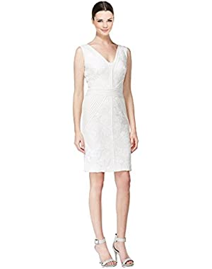Calvin Klein Sleeveless Sequin Lace V-Neck Bodycon Dress