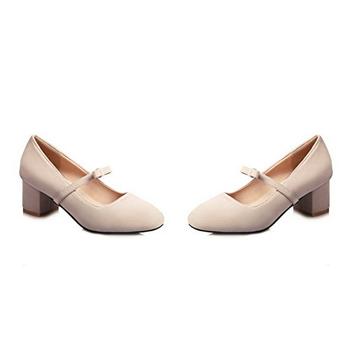 Balamasa Mujeres Bows Chunky Heels Low-cut Uppers Suede Pumps Zapatos Beige