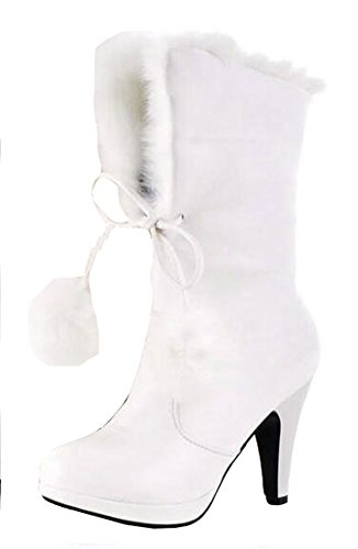CHFSO Women's Cute Fully Fur Lined Waterproof Ball Pull On Chunky High Heel Ankle High Winter Boots White 7.5 B(M) (White Fur Skirt)