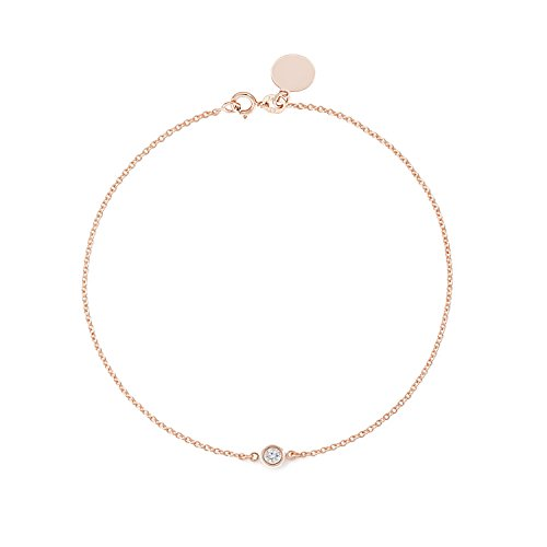 TOUSIATTAR Solitaire Diamond Bracelet - Solid Yellow White Rose Gold -14K or 18Karat - Dainty and Simple Bezel Set - Free Engraving - Graceful Gift for Women (0.10 CT Diamond Size 8'' 14K Rose Gold)