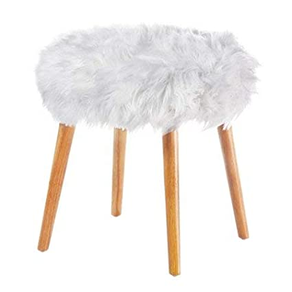 Miraculous Amazon Com East Wind White Fuzzy Stool For Vanity Faux Fur Gmtry Best Dining Table And Chair Ideas Images Gmtryco