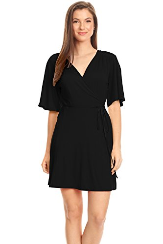 Women's Black Wrap Dress, Reg and Plus Size Wrap Dress, Casual Summer wrap Around Dress Short Sleeve (Size Medium, Black)