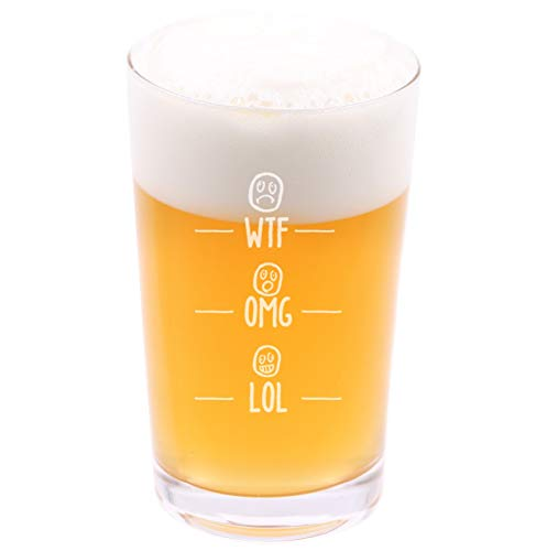 (WTF/OMG / LOL - Funny Novelty Beer Pint Glass with Coaster and Gift Box - 16 oz - Present for Husband Dad Boyfriend Friend Co-worker Men on Birthday Fathers Day Christmas)