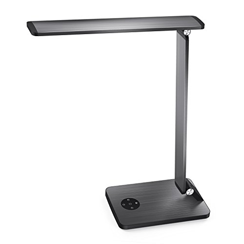MoKo LED Desk Lamp, Smart Touch Stylish Metal Table Lamp, Rotatable Home Office Lamp with Stepless Brightness/Color Temperature, 5V 2.4A USB Charging Port, Memory Function, Sleep Mode - Space Gray