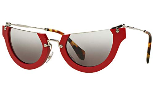 Miu Miu Butterfly Sunglasses SMU11QS UA44N2 52 | Red Acetate Frame | Gray Gradient Lenses (Sunglasses Miu Miu Gray)