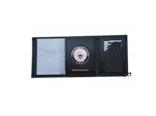 Officially Licensed United States Navy, Genuine Leather Wallet - 4 Different Styles (Trifold Singel Id - Medallion United Navy States