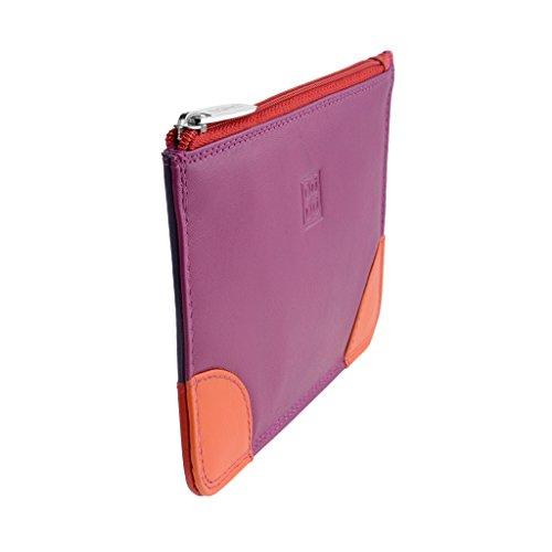 Bustina portatutto donna in vera pelle colorata con zip e 3 tasche porta carte DUDU Fucsia