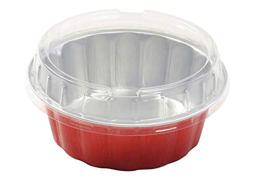 KitchenDance Disposable Colored Aluminum 8 oz. Individual Cake Cups- Tart Pans-Dessert Pans. Color and Lid Options #A8 (50, Red with Lids)