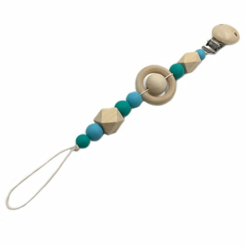 Amyster Pacifier Clip Wooden Organic and Silicone Beads Rattle Holder Chewable Baby Accessories Pendant (color 1)