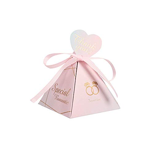 (Kaptin 50 Pack Triangle Bronzing Wedding Candy Favor Box,Marbled Paper with Heart-Shaped Tags and Ribbon Gift Candy Box Bag for Party Favors Wedding Decoration (Pink))
