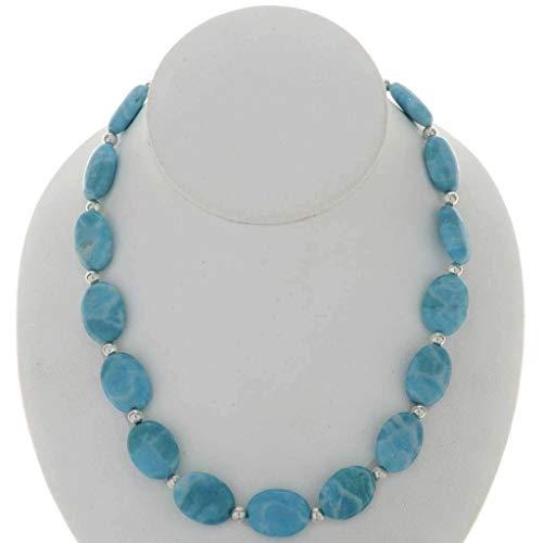 Navajo Single - Blue Larimar Silver Bead Necklace Navajo Single Strand 0131
