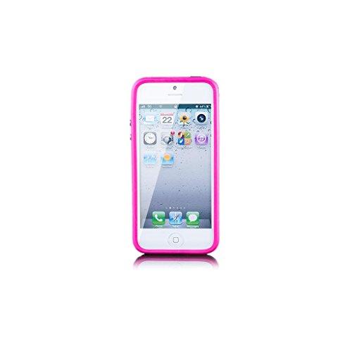 iCues Apple iPhone SE / 5S / 5 |  Bumper mit Alu Knöpfen Lila | [Display Schutzfolie Inklusive] Rahmen Case Hülle Schutzhülle