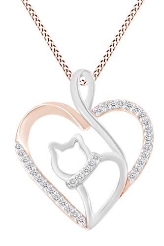 - Christmas Sale 0.1 Ct tw Round Natural Diamond Two Tone Open Heart Cat Pendant in 14K Rose Gold Over Sterling Silver
