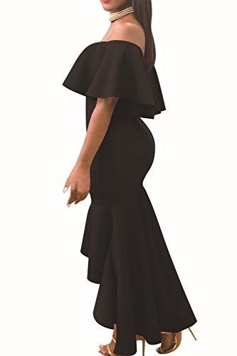 Las Mujeres Elegantes Volantes Off Shoulder Bodycon Vestido De Sirena De Alta Baja Black