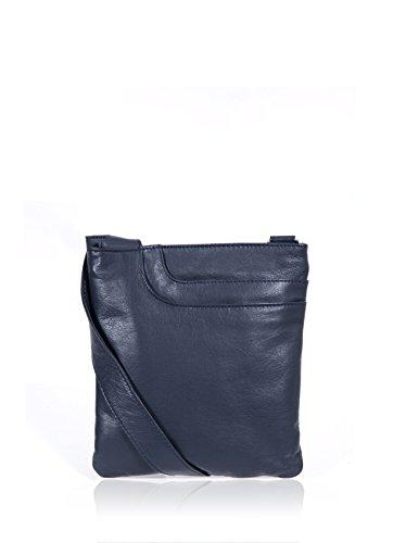 Women's Alexis Soft Grained Leather Cross Body Pocket Bag w/Tassel Detail Navy