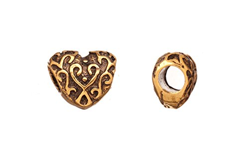 - Paisley heart 18k antique gold-finished large hole charm 12.6x10.4mm Sold per pack of 6pcs (3pack bundle), SAVE $2