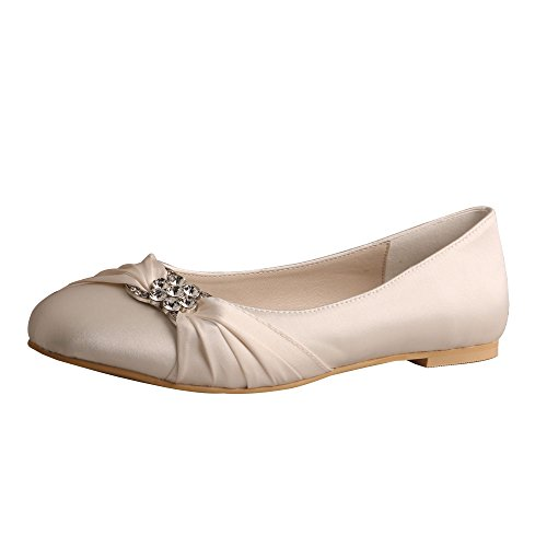 Wedopus MW757 Women's Pleated Closed Toe Ballet Flat Satin Wedding Shoes for Bride Size 10 ()