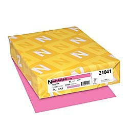 """Neenah 21041 Wausau Astrobrights Colored Cardstock, 8.5"""" x 11"""", 65 lb / 176 gsm, Pulsar Pink, 250 Sheets ()"""