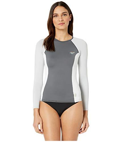 - O'Neill Wetsuits Women's Premium Skins UPF 50+ Long Sleeve Rash Guard, Graphic/White/Cool Grey, X-Small