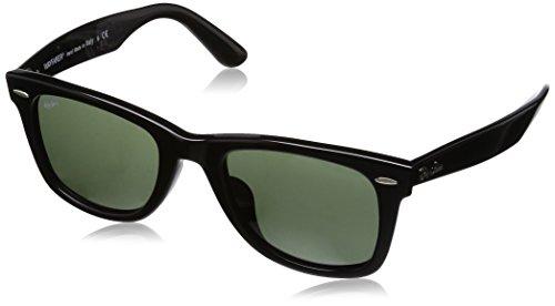 Ray-Ban Men's RB2140F Wayfarer Sunglasses Black / Crystal Green - Ban Ray Wayfarer 2140 901