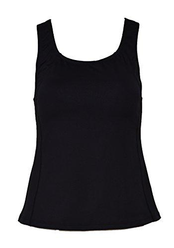 Private Island Hawaii Women UV Rash Guard Shoulder Signiture Tankini Top Under Bra Sun Protection Swimming Suit Black Large