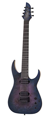 Schecter Guitar Research 7 String Solid-Body Electric Guitar, Right, Blue Crimson, Full (303) (9 String Guitar Schecter)