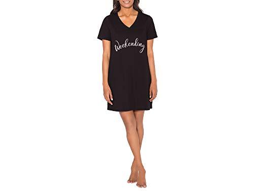 Smart & Sexy Women's V-Neck Oversized Sleep Shirt, Black 'Weekending', XL