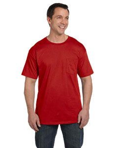(Men's 6.1 oz Hanes BEEFY-T T-Shirt w/Pocket,Deep Red,XX-Large)
