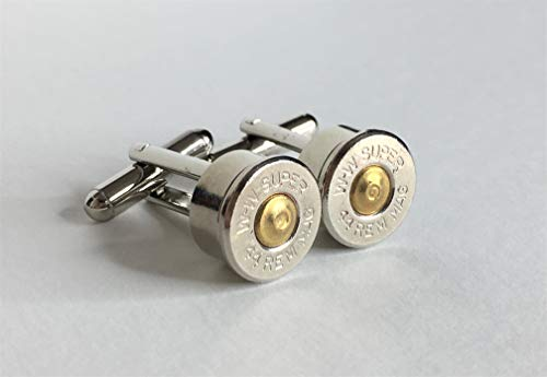 Bullet Casing Cuff Links 44 Remington Magnum Military and Law Enforcement ()