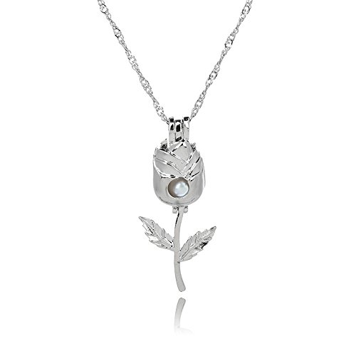 1pc Women Fashion Silver Plated Necklace Rose Flower Shaped Hollow Pearl Pendant GM1S