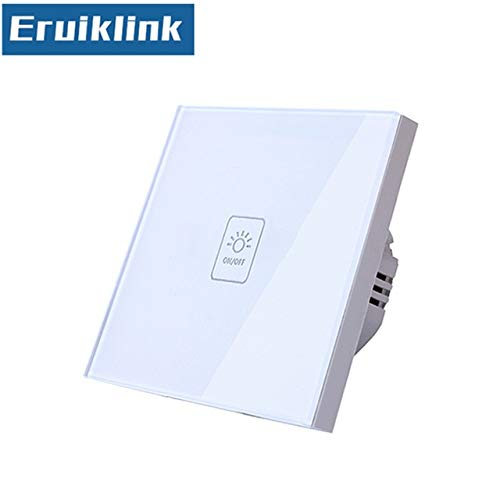 1gang Switch Only EU UK Standard Wall Touch Switch,1 2 3 Gang 1 Way White Glass Panel Light Wireless Remote Control Switches for RF433 Smart Home  (color  3gang Switch with RC)
