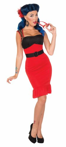 [Forum Novelties Women's Retro Rock Scarlet Rose Rockabilly Pin-Up Girl Costume, Multi Colored, Small/X-Small] (Bettie Page Halloween Costume)