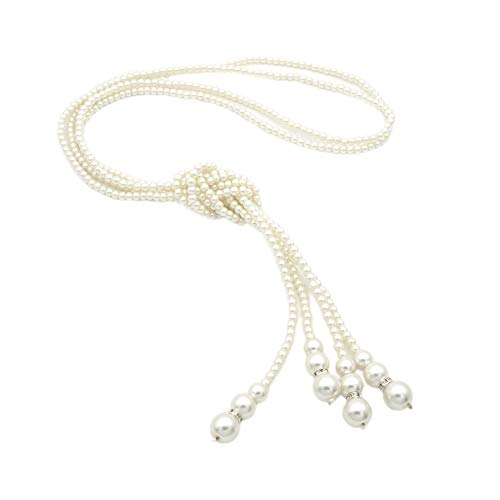 JSEA Be 2pcs/Set Womens Beige Imitation Pearl Long Chain Strand Necklace Bolo Tie ()
