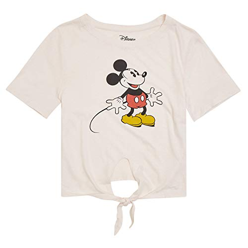 Disney Ladies Mickey Mouse Fashion Shirt - Ladies Classic Mickey Mouse Clothing Mickey Mouse Logo Tie Front Short Sleeve Tee (Light Pink, Small)