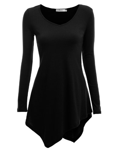Doublju Women Soft Crew Neck 34 Sleeve Plus Size Tee BLACKXL