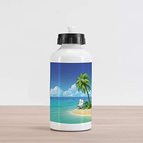 Lunarable Coastal Aluminum Water Bottle, Desert Chaise Lounge Solitude Resting Holiday Tropic Resort Beach Leisure, Aluminum Insulated Spill-Proof Travel Sports Water Bottle, Aqua Green Ivory ()