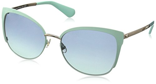 Kate Spade Women's Genice/S Non-Polarized Oval Sunglasses, Green Gold/Navy Turquoise, 57 - Spade Case Kate Sunglass Green