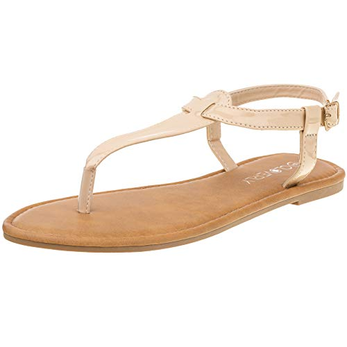 Red Circle Women's T Strap Thong Gladiator Strappy Jelly Shiny Flat Flip Flops Sandals (10, Nude)