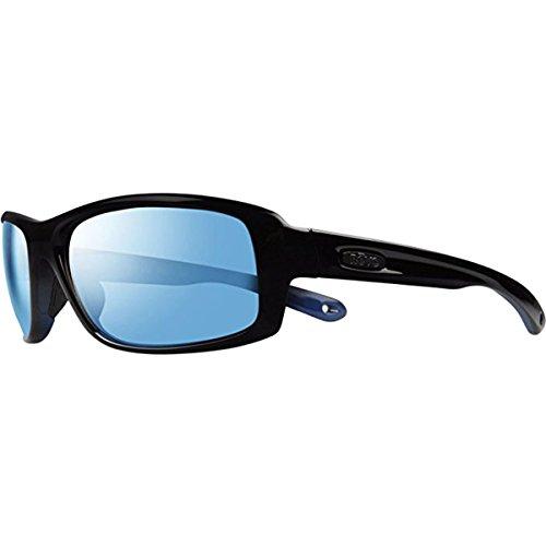 Revo RE 4064 Converge Polarized Soft Rectangular Sunglasses, Shiny Black Cobalt Frame, Blue Water 63mm ()