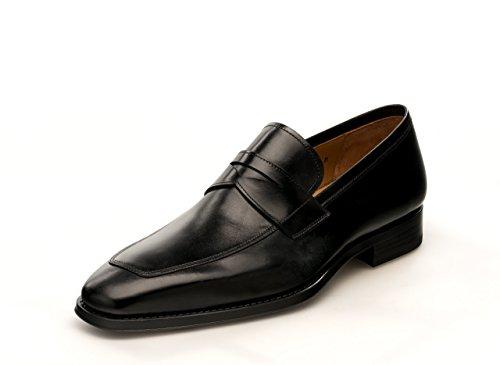 Calfskin Leather Loafers - Magnanni Marc Black Men's Loafer Shoes Size 12 US