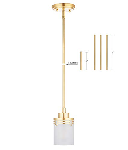 "Doraimi 1-Light Modern Indoor Mini Hanging Pendant,Hollow Lamp Cup+Dyed Antique Brass Finish with Frosted Glass Shade for Bar, Dining Room, Corridor,Living Room. LED Bulb(not Include) - 51"" High"