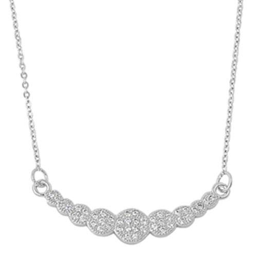 Circle Pendant Rolo Chain Bubble Necklace Clear CZ .925 Sterling Silver, 16'',