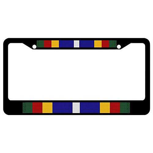 Coast Guard Bicentennial Unit Commendation Ribbon Customized Car License Plate Frame Military, Durable Stainless Steel License Plate Holder for Standard US Vehicles, 2 Holes & Screws (Plate Us Bicentennial)