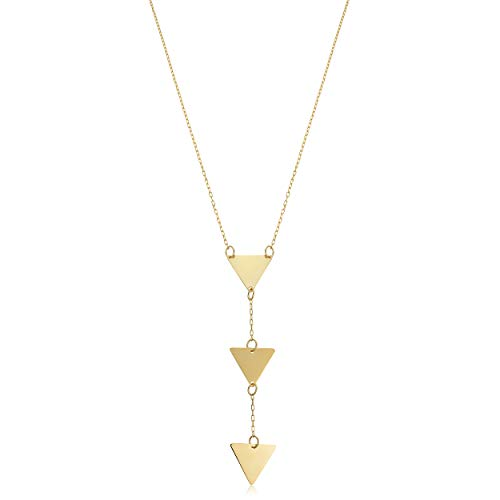 - Kooljewelry 14k Yellow Gold Triple Triangle Drop Necklace (adjusts to 16 or 17 inch)