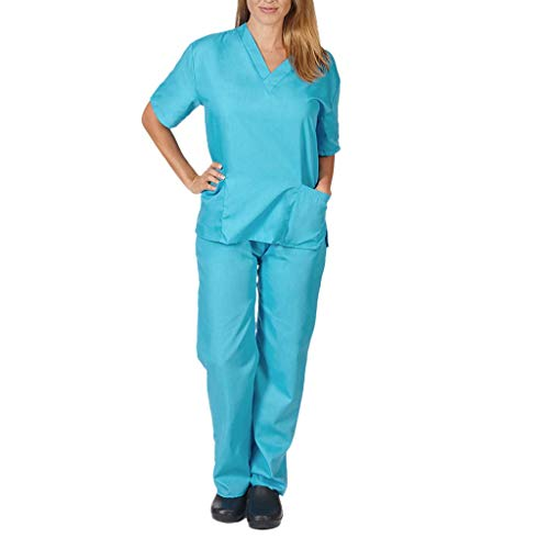 Medical Nursing Scrub Set Working Uniform Men Women Medical Top Pants Hospital (Sky Blue, XX-L)